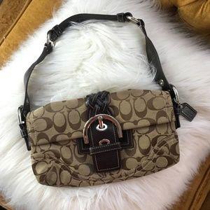 Coach Signature Jacquard Brown Soho Buckle purse